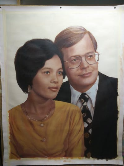 A painting of photograph, vision care, lady, vintage clothing, portrait, glasses, gentleman, smile, formal wear, eyewear
