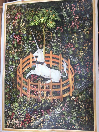 A painting of tapestry, art, textile, history, painting, picture frame