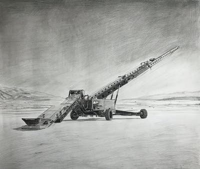 A painting of vehicle, sky, construction equipment, sand, crane