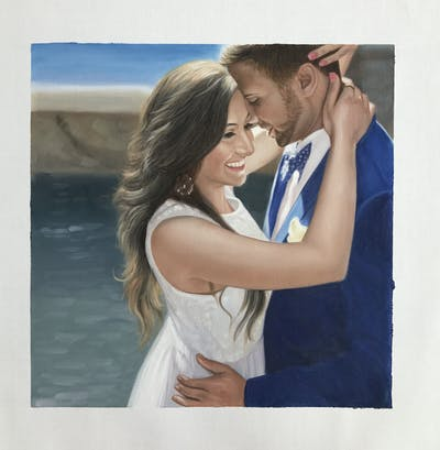 A painting of photograph, romance, beauty, bride, love, interaction, girl, honeymoon, wedding, happiness