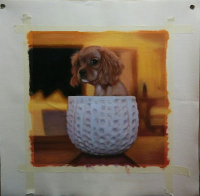 A painting of dog like mammal, dog, dog breed, dog breed group, puppy, dog crossbreeds, snout, carnivoran, spaniel, companion dog
