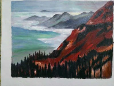 A painting of painting, sky, mountain, highland, atmosphere, tundra, mountain range, geological phenomenon, watercolor paint, dawn