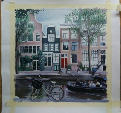 A painting of waterway, canal, property, mixed use, neighbourhood, building, water, home, house, tree