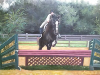 A painting of horse, hunt seat, english riding, horse like mammal, stallion, eventing, equestrianism, animal sports, rein, hobby