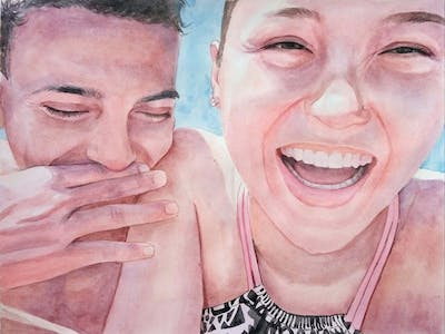 A painting of face, nose, fun, mouth, smile, lip, happiness, laughter, product