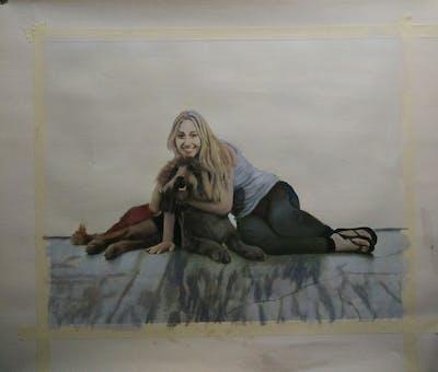 A painting of dog, dog like mammal, dog breed, sitting, fur, joint, companion dog, leash, dog crossbreeds, shoe