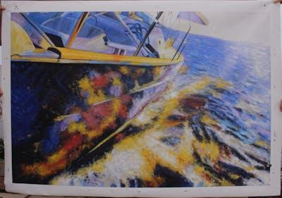 A painting of water, sailing, water transportation, boat, sea, sailing, yacht, sailing ship, sail, wave