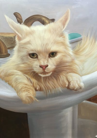 A painting of cat, small to medium sized cats, cat like mammal, whiskers, turkish angora, domestic short haired cat, burmilla, persian, kitten, ragdoll