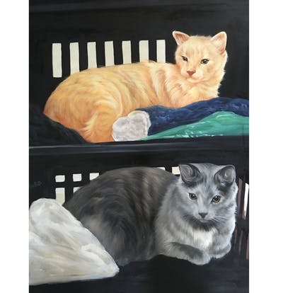 A painting of cat, small to medium sized cats, cat like mammal, whiskers, fauna, kitten, domestic short haired cat