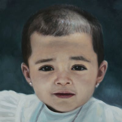 A painting of face, skin, child, nose, chin, cheek, forehead, boy, smile, neck