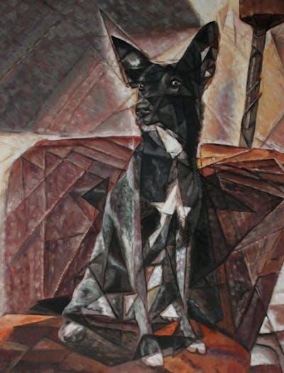 A painting of dog, dog like mammal, dog breed, dog breed group, snout, formosan mountain dog, dog crossbreeds, carnivoran, rare breed dog, vulnerable native breeds