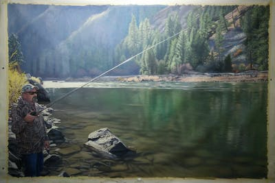 A painting of river, wilderness, recreational fishing, outdoor recreation, lake, water resources, water, mountain, hill station, recreation