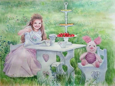 A painting of pink, grass, child, plant, flower, recreation, toddler, picnic, girl, play