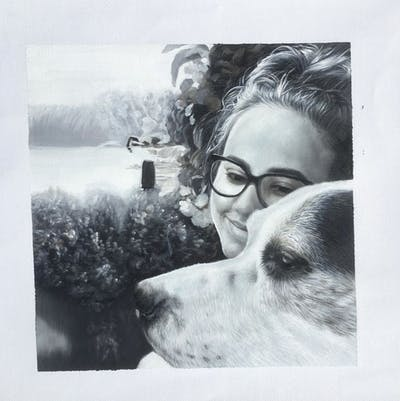 A painting of photograph, black and white, glasses, nose, snow, vision care, monochrome photography, snapshot, dog, winter