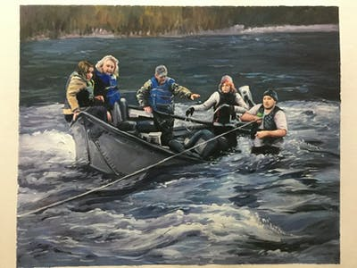 A painting of oar, water, water transportation, watercraft rowing, boating, waterway, boats and boating equipment and supplies, boat, river, outdoor recreation