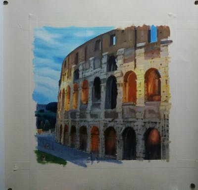 A painting of historic site, landmark, medieval architecture, arch, ancient rome, ancient roman architecture, building, tourist attraction, ancient history, ruins