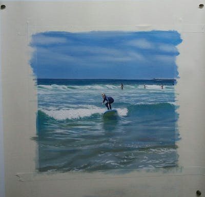 A painting of coastal and oceanic landforms, wave, sea, body of water, beach, water, wind wave, ocean, surfing equipment and supplies, shore