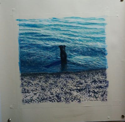 A painting of sea, water, ocean, wave, shore, wind wave, coastal and oceanic landforms, calm, sky