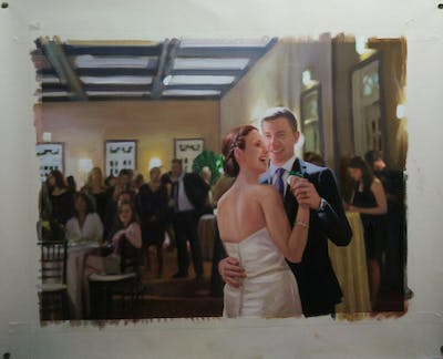 A painting of woman, photograph, man, bride, ceremony, dress, wedding, gown, bridal clothing, groom