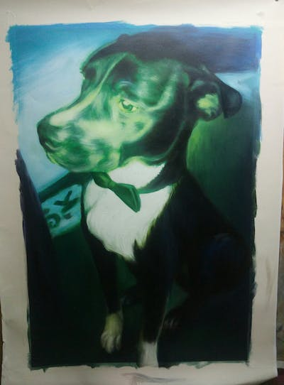 A painting of green, dog, dog like mammal, dog breed, snout, square, carnivoran