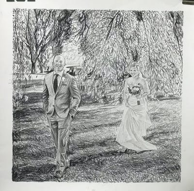 A painting of photograph, black and white, woodland, monochrome photography, tree, photography, bride, standing, dress, wedding