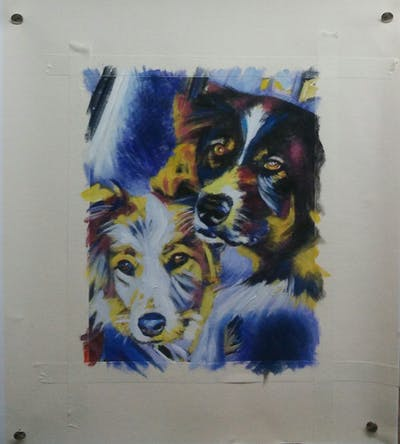 A painting of dog, mammal, vertebrate, dog like mammal, painting, art, snout, dog breed, carnivoran, illustration