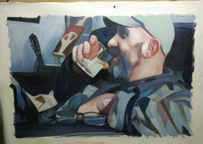 A painting of soldier, military, mouth, arm, finger, facial hair, muscle, jaw