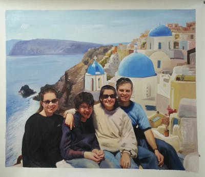 A painting of vacation, tourism, fun, water, leisure, travel, ice, arctic, sea