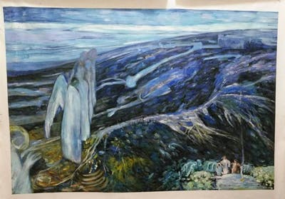 A painting of escarpment, geological phenomenon, rock, formation, geology, painting, highland, mountain, outcrop, fault