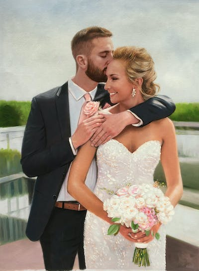 A painting of photograph, bride, flower, flower bouquet, gown, pink, wedding, flower arranging, bridal clothing, groom