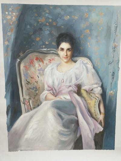 A painting of painting, lady, portrait, girl, gown, art, artwork, costume design