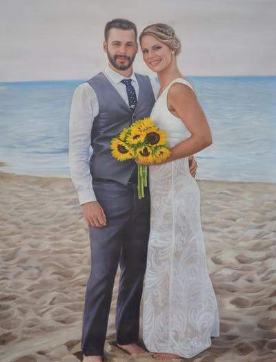A painting of photograph, body of water, bride, gown, wedding, wedding dress, bridal clothing, sea, ceremony, groom
