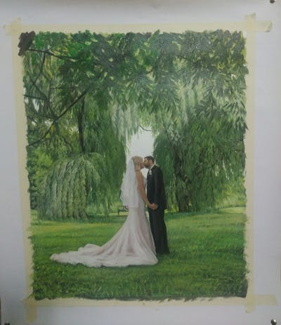 A painting of photograph, nature, bride, gown, woodland, beauty, wedding, tree, dress, grass
