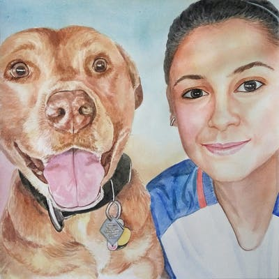 A painting of dog, dog breed, nose, snout, ear, selfie, dog like mammal, american pit bull terrier, professional, pit bull