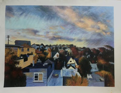 A painting of sky, cloud, residential area, suburb, town, home, property, house, city, tree