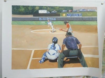 A painting of baseball player, sport venue, baseball field, baseball positions, bat and ball games, baseball equipment, team sport, sports, baseball, ball game
