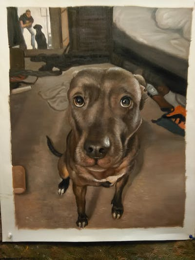 A painting of dog breed, dog, snout, dog like mammal, american pit bull terrier, carnivoran, pit bull, dog crossbreeds
