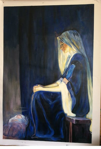 A painting of painting, art, portrait, modern art, watercolor paint, artwork, mythology, visual arts, darkness, stock photography