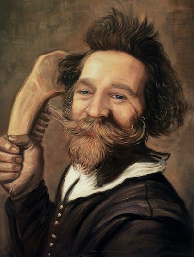 A painting of facial hair, beard, portrait, chin, gentleman, moustache, painting, human behavior, elder, self portrait