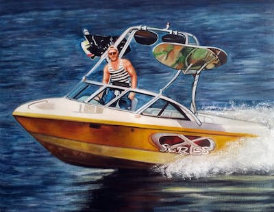 A painting of boat, water transportation, motorboat, watercraft, boating, water, picnic boat, plant community, launch