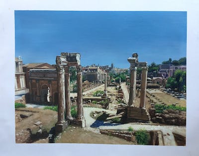 A painting of ruins, historic site, ancient history, archaeological site, ancient rome, tourist attraction, ancient roman architecture, tourism, history, monument