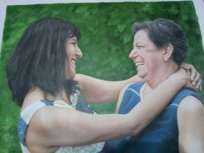 A painting of girl, emotion, shoulder, abdomen, fun, trunk, sitting, friendship, smile, grass