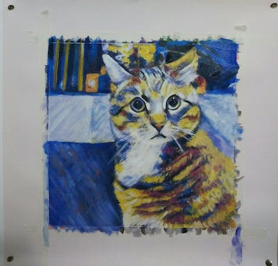 A painting of cat, dragon li, small to medium sized cats, whiskers, cat like mammal, tabby cat, european shorthair, fauna, domestic short haired cat, california spangled