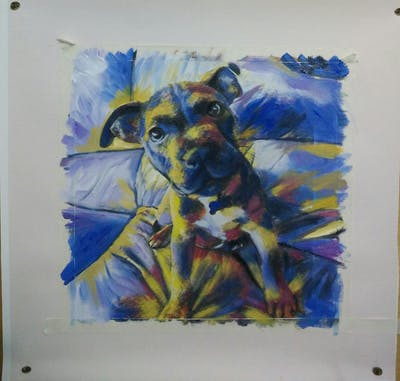 A painting of dog, dog breed, dog like mammal, nose, dog breed group, snout, american pit bull terrier, pit bull, carnivoran, american staffordshire terrier