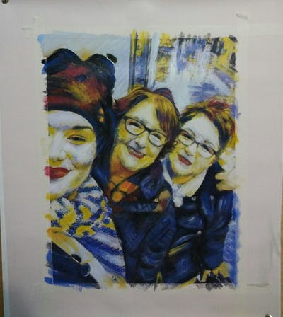 A painting of glasses, vision care, facial expression, eyewear, product, smile, snapshot, photography, girl, fun