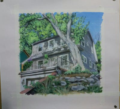 A painting of property, house, home, cottage, real estate, tree, farmhouse, siding, estate, facade