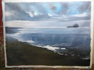 A painting of sea, sky, shore, ocean, coastal and oceanic landforms, horizon, coast, cloud, water, calm