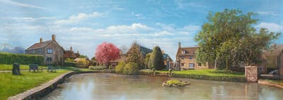 A painting of waterway, property, canal, sky, reflection, tree, village, water, estate, national trust for places of historic interest or natural beauty