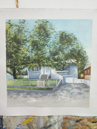A painting of property, neighbourhood, tree, house, residential area, home, real estate, plant, cottage, recreation