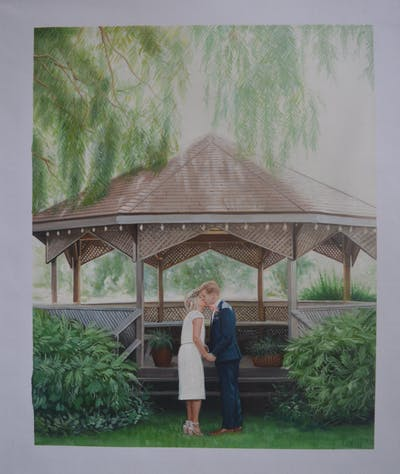 A painting of photograph, backyard, gazebo, ceremony, garden, outdoor structure, bride, house, yard, wedding